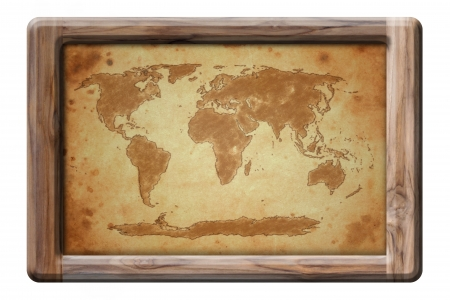 old world map in wooden frame Stock Photo - 16548227
