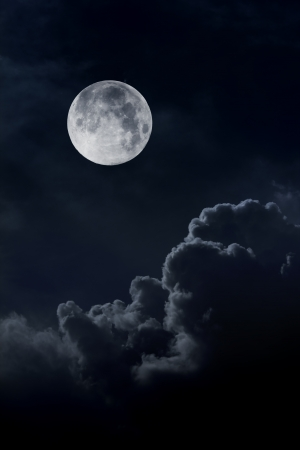 nebulous: night sky with moon and clouds