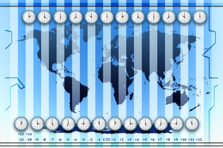 time zones world map background photo