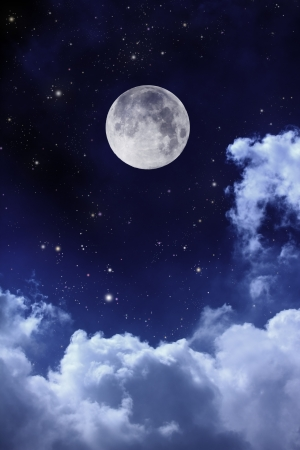 moon stars: cloudy night sky with moon and star