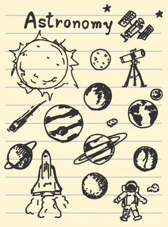 astronomy concept sketching on paper Stock Vector - 17594487