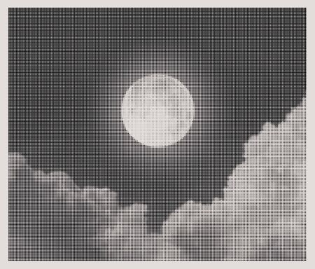 nebulous: night sky with moon and clouds halftone style
