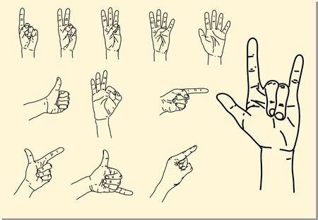 ok sign language: hand signal drawing style Illustration