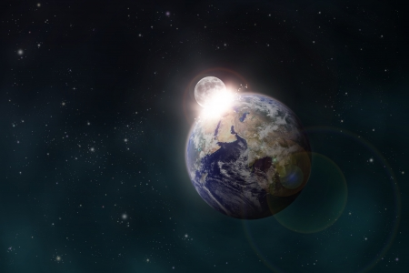 planetoid: the Moon impacts the Earth space scene