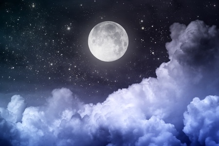 atmosphere: cloudy night sky with moon and star