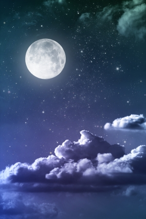 blue moon: cloudy night sky with moon and star