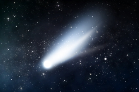 starry space scene with comet Stock Photo