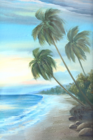beach scene: beach : oil color painting