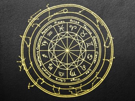 zodiac signs on black wall Stock Photo