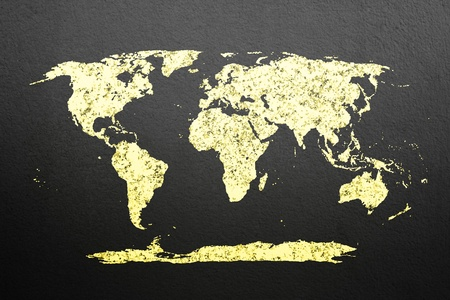 gold world map on black wall