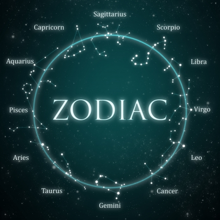 zodiac constellations: zodiac constellations with starry sky background Stock Photo