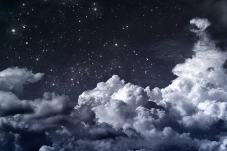 telescopes: cloudy night sky with stars Stock Photo