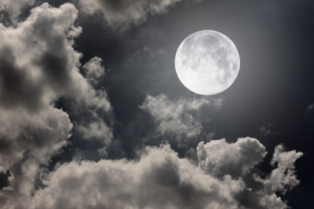 full moon: night sky with moon and clouds