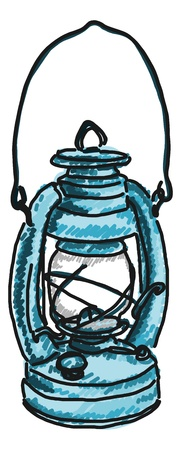 kerosene: antique kerosene lamp drawing on white background