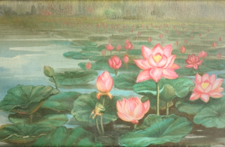 lotus : oil color painting Stock Photo