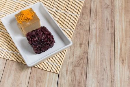 black rice: Sweet Thai recipe made with black rice, sugar, and egg.