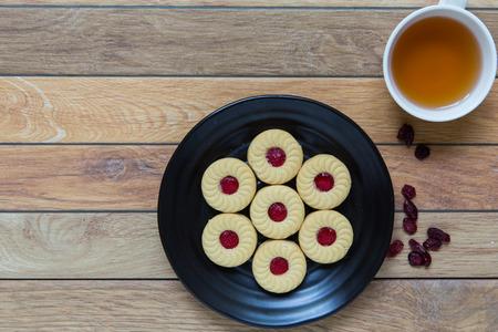 tea break: Cranberry filled cookies for tea break during a meeting. Stock Photo