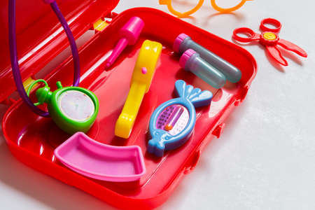 Colorful and vivid medical equipment toy for children. photo
