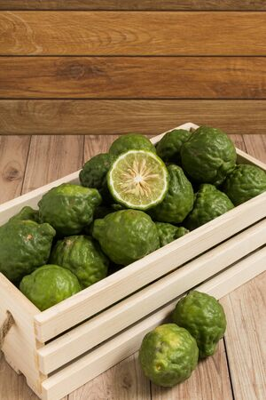 put together: Bergamots put together in a wood box.