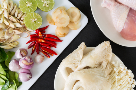 sour grass: Various kinds of ingredients for Thai dish : Tom Yum