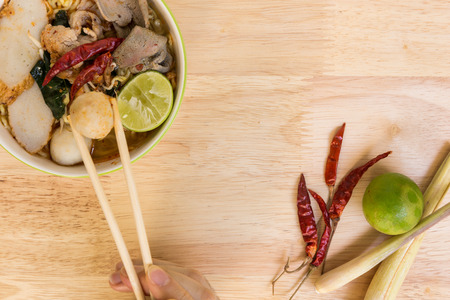 yum: Tom Yum Soup with Noodle : Thai Food