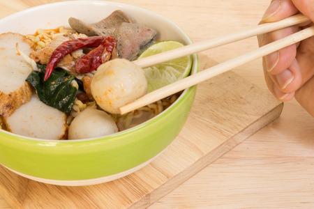 yum: Tom Yum Soup Noodle Stock Photo