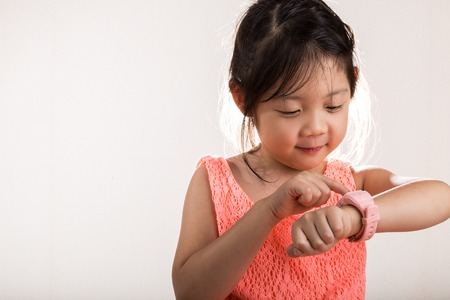 Child with Smartwatch. Child Using Smartwatch Background