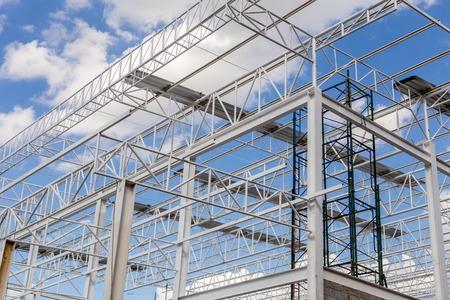 Stalen structuur met Blue Sky Achtergrond Stockfoto