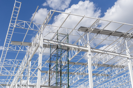 building structure: Steel Structure with Sky Background Stock Photo