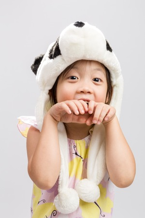 pretending: Kid Pretending Animal, Panda Stock Photo