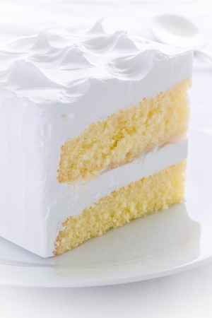 Vanilla Cake on White Dish Stock Photo