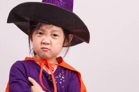 halloween: Child in Halloween Costume on White Stock Photo