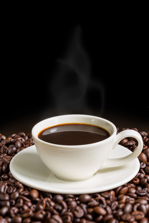 caffeine: Coffee Cup on Black Background Stock Photo