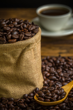 coffee beans: Roasted Coffee Beans in Sack Background