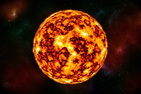 Sun in Space with Plasma Background