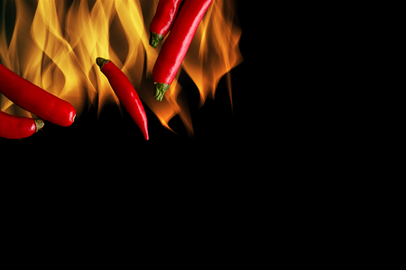 chili: Chili on Black Background Stock Photo