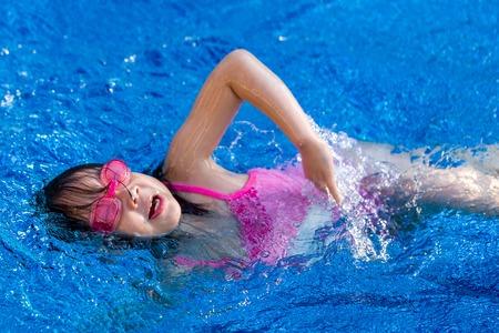 girl swimming: Child Swimming in Pool