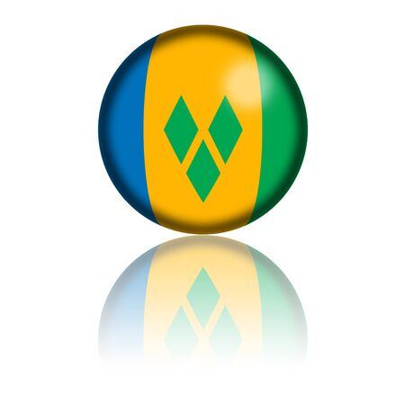 grenadines: Saint Vincent and the Grenadines Flag Sphere 3D Rendering Stock Photo