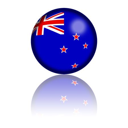 new zealand flag: New Zealand Flag Sphere 3D Rendering Stock Photo