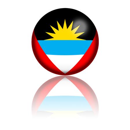 antigua: Antigua and Barbuda Flag Sphere 3D Rendering
