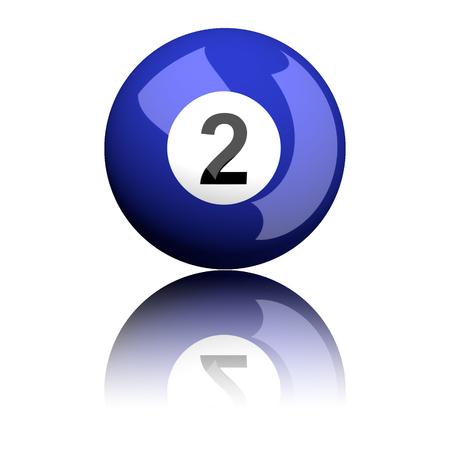 billiard: Billiard Ball Number 2 3D Rendering