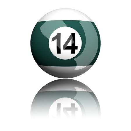 number 14: Billiard Ball Number 14 3D Rendering Stock Photo