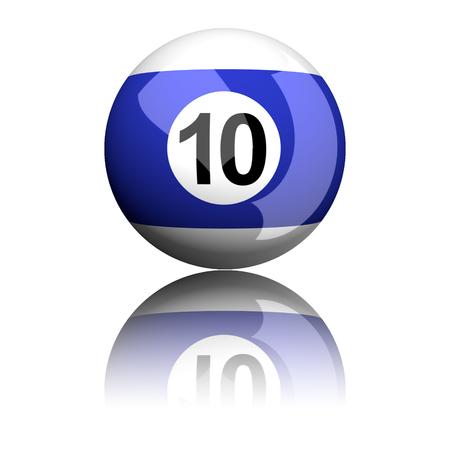 number 10: Billiard Ball Number 10 3D Rendering Stock Photo