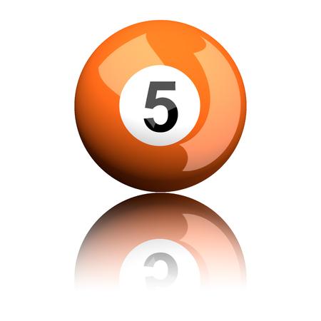 billiard: Billiard Ball Number 5 3D Rendering