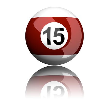 billiard ball: Billiard Ball Number 15 3D Rendering