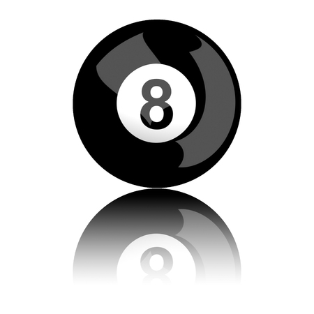 ball isolated: Billiard Ball Number 8 3D Rendering