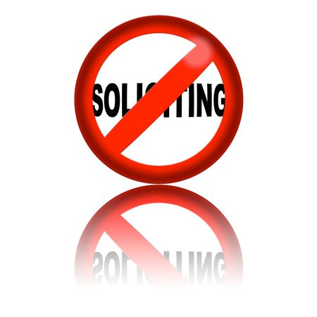 soliciting: No Soliciting Sign 3D Rendering Stock Photo
