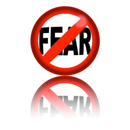 fear: No Fear Sign 3D Rendering Stock Photo