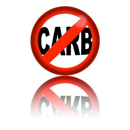 carb: No Carb Sign 3D Rendering Stock Photo