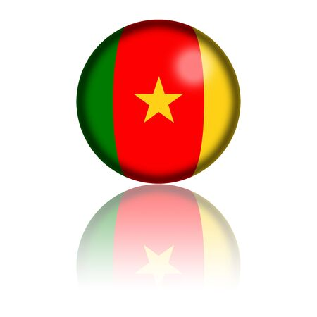 cameroonian: Cameroon Flag Sphere 3D Rendering Stock Photo